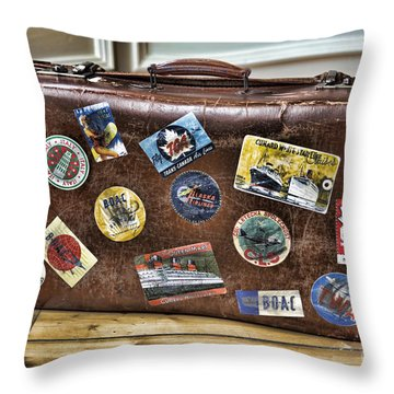Throw Pillow featuring the photograph Vintage Suitcase With Labels by Craig B