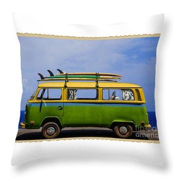 Vintage Surf Van Throw Pillow