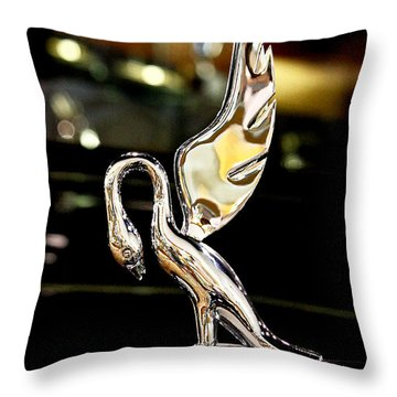 Vintage Swan Packard Hood Ornament Car Fine Art Photography Print  Throw Pillow by Jerry Cowart