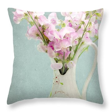 Throw Pillow featuring the photograph Vintage Sweet Peas In A Pitcher by Peggy Collins
