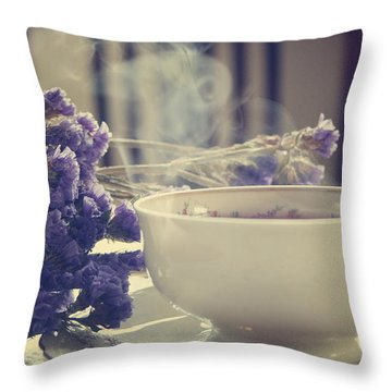 Vintage Tea Set With Purple Flowers Throw Pillow