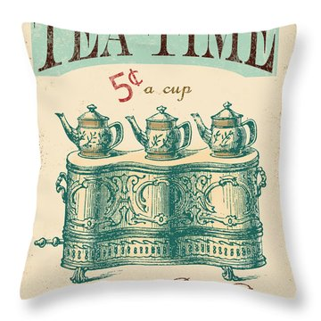 Vintage Tea Time Sign Throw Pillow by Jean Plout