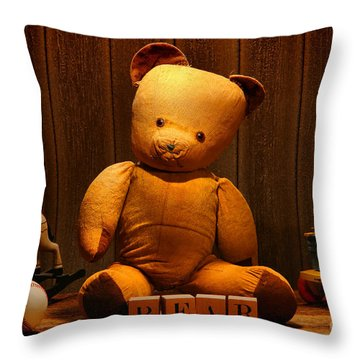 Vintage Teddy Bear And Toys Throw Pillow by Olivier Le Queinec