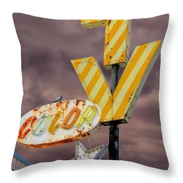 Vintage Television Sign Throw Pillow