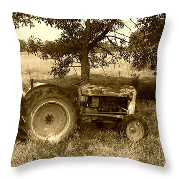 Vintage Tractor In Sepia Throw Pillow by Cynthia Lassiter