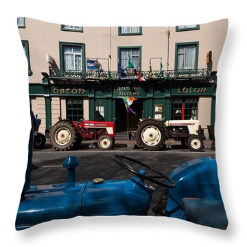 Vintage Tractors Lined Throw Pillow
