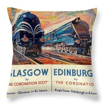Vintage Train Travel - Glasgow And Edinburgh Throw Pillow