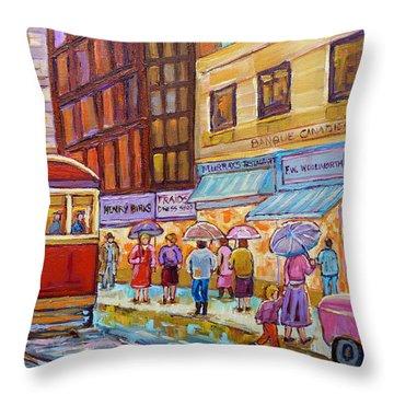 Vintage Tram Car-montreal Downtown Scene-classic Chevy Car Throw Pillow by Carole Spandau
