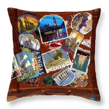 Vintage Travel Case Throw Pillow by Garry Walton