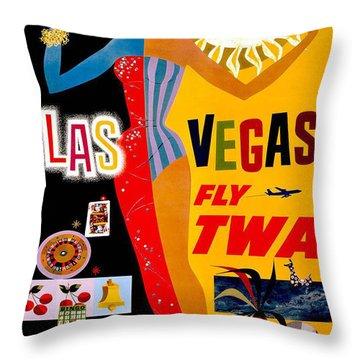 Vintage Travel Poster - Las Vegas Throw Pillow