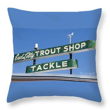 Vintage Trout Shop Sign West Yellowstone Throw Pillow