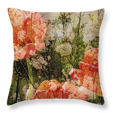 Vintage Tulips Throw Pillow by France Laliberte