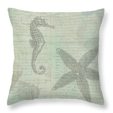 Vintage Under The Sea Throw Pillow by Peggy Collins