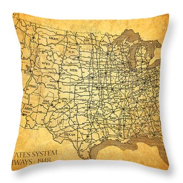 Vintage United States Highway System Map On Worn Canvas Throw Pillow by Design Turnpike