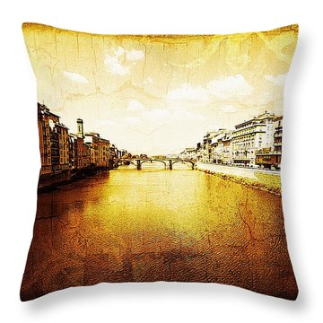 Vintage View Of River Arno Throw Pillow