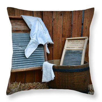 Vintage Washboard Laundry Day Throw Pillow by Paul Ward