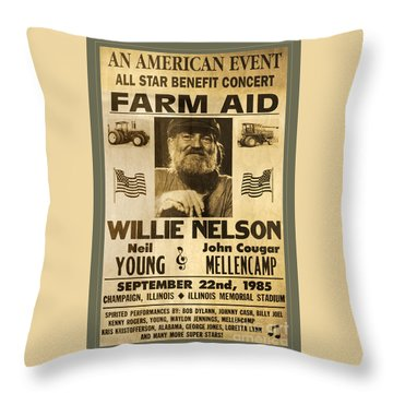 Vintage Willie Nelson 1985 Farm Aid Poster Throw Pillow