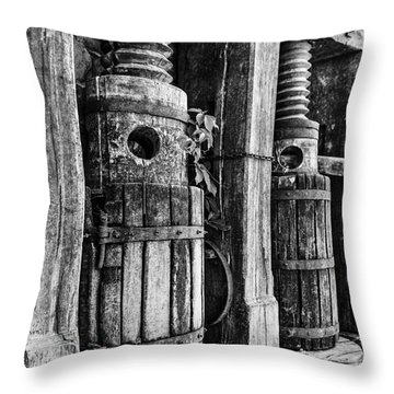 Vintage Wine Press Bw Throw Pillow