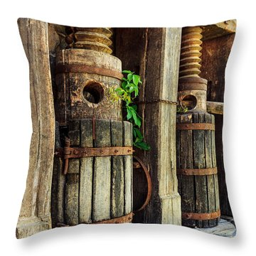 Vintage Wine Press Throw Pillow
