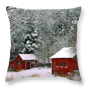 Throw Pillow featuring the photograph Vintage Winter Barn  by Peggy Franz