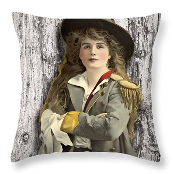 Vintage Woman In Uniform Throw Pillow by Peggy Collins