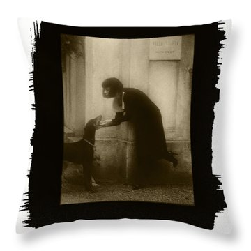 Vintage Woman With Dog Throw Pillow