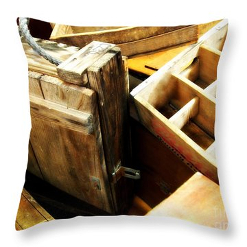 Vintage Wooden Boxes Throw Pillow