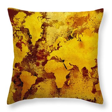 Vintage World Map Throw Pillow by Zaira Dzhaubaeva