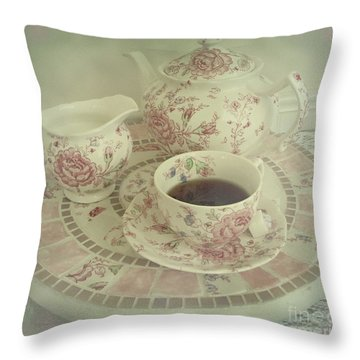 Vintage Worn Rose Chintz And Susan Throw Pillow by Margaret Newcomb