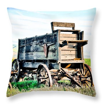 Vintaged Covered Wagon Throw Pillow by Athena Mckinzie