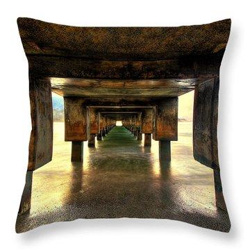 Vintaged Hanalei Pier  Throw Pillow