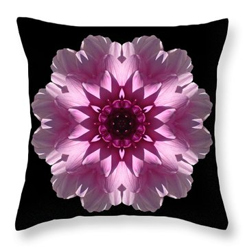 Violet And White Dahlia I Flower Mandala Throw Pillow by David J Bookbinder