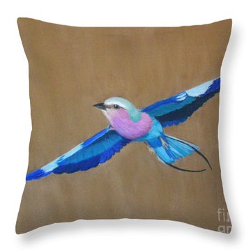 Violet-breasted Roller Bird II Throw Pillow