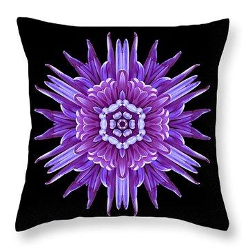 Violet Chrysanthemum Iv Flower Mandala Throw Pillow by David J Bookbinder