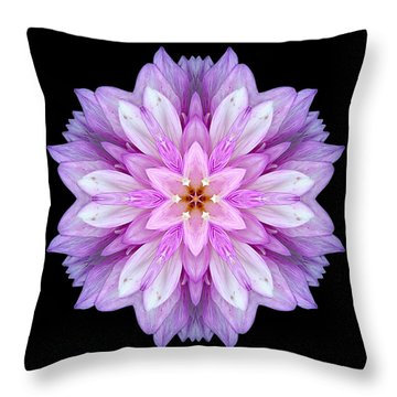 Violet Dahlia I Flower Mandala Throw Pillow