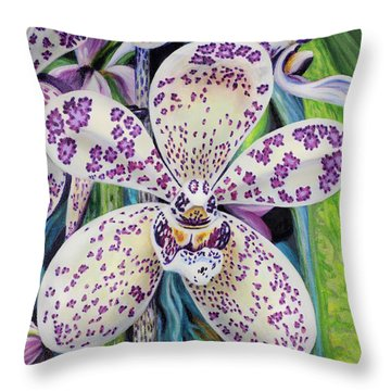 Violet Dotted Orchid Throw Pillow by Jane Girardot