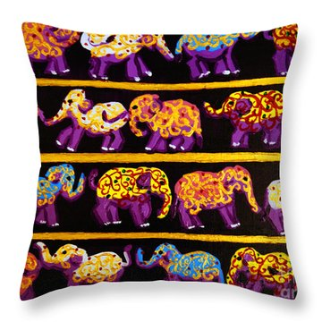 Violet Elephants Throw Pillow