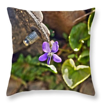 Violet In The Rust Throw Pillow by Crystal Harman
