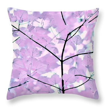 Violet Lavender Leaves Melody Throw Pillow by Jennie Marie Schell