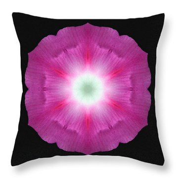 Violet Morning Glory Flower Mandala Throw Pillow by David J Bookbinder