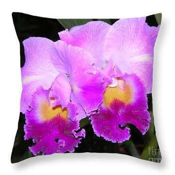 Violet Orchids Throw Pillow by Mariarosa Rockefeller
