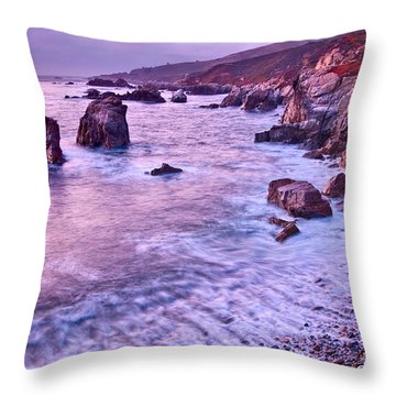 Violet Tides - Rocky Coast From Soberanes Point In Garrapata State  Throw Pillow
