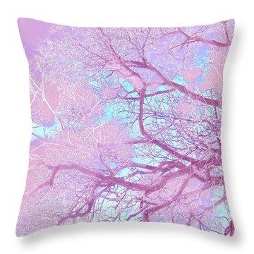 Violet Tree Throw Pillow