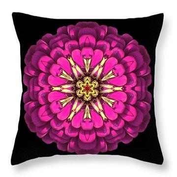 Violet Zinnia Elegans Flower Mandala Throw Pillow by David J Bookbinder