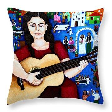 Violeta Parra And The Song Black Wedding Throw Pillow by Madalena Lobao-Tello