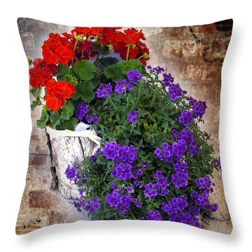Violets And Geraniums On The Bricks Throw Pillow by William Havle