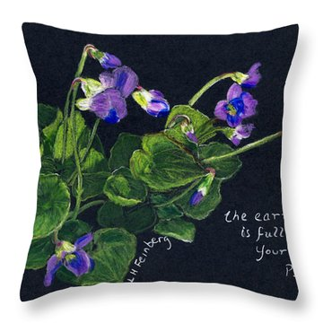 Violets And Psalm 104 Throw Pillow