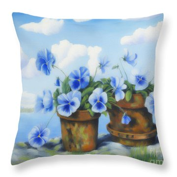 Violets On The Beach Throw Pillow by Veikko Suikkanen