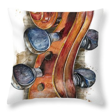 Violin 02 Elena Yakubovich Throw Pillow