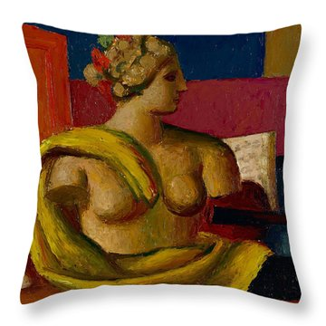 Violin And Bust Throw Pillow by Mark Gertler